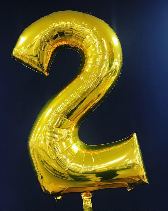 Zahlenballon 2 gold