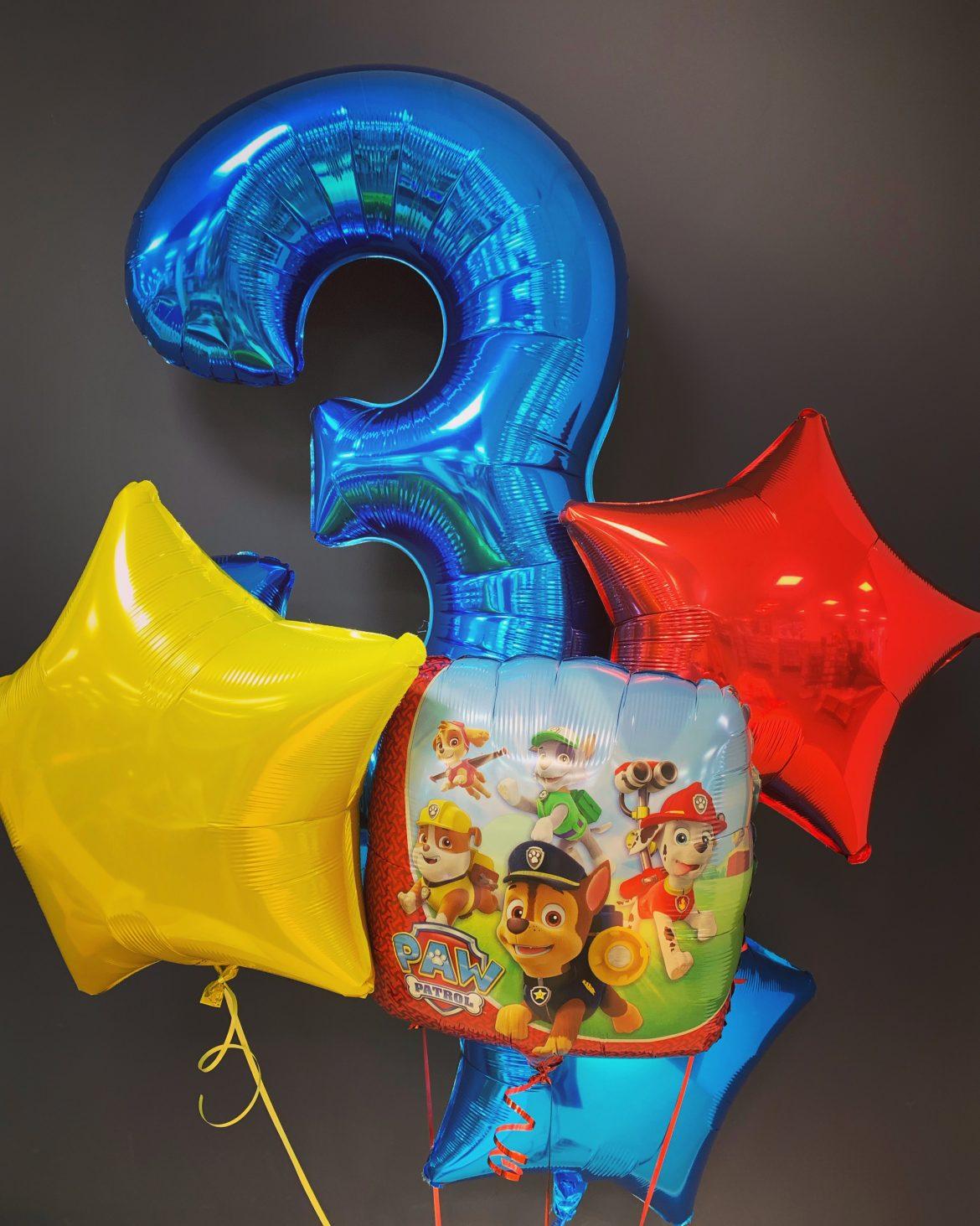 Zahlenballon 3 blau
