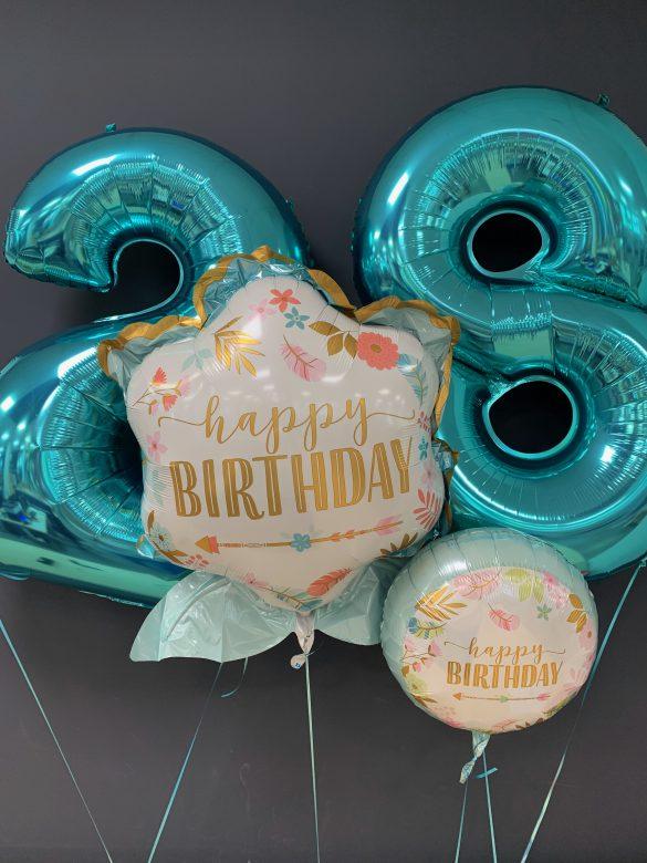 Happy Birthday Zahl 2 und 8 türkis