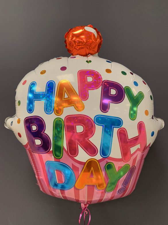 Heliumballon Happy Birthday Cupcake