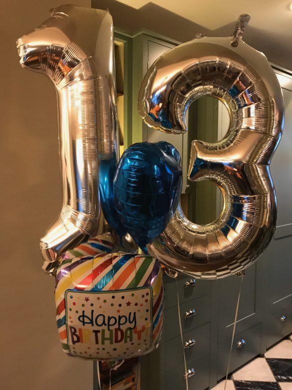 Zahlenballon 13 silber