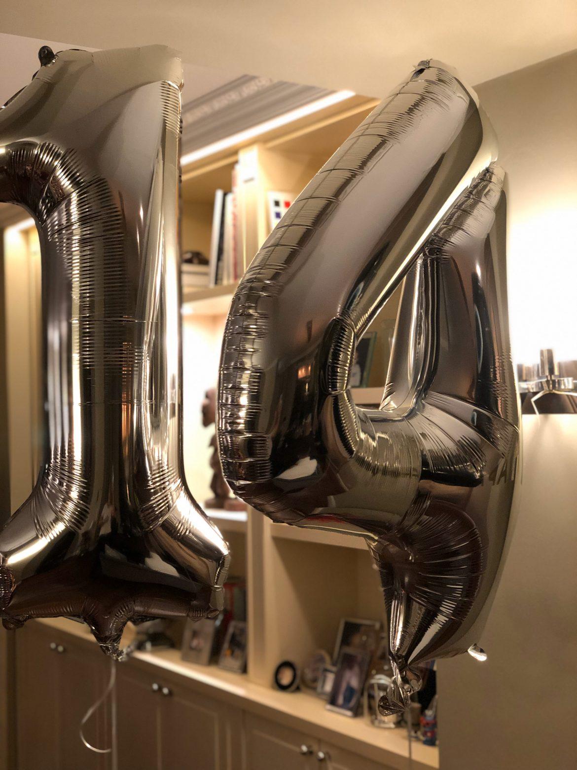 Zahlenballon 14 silber