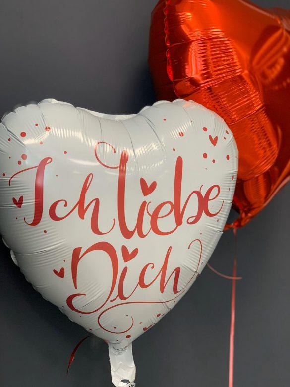 Ballon Ich Liebe Dich in weiß und rot € 5,90 und rotes Herz € 4,50 48