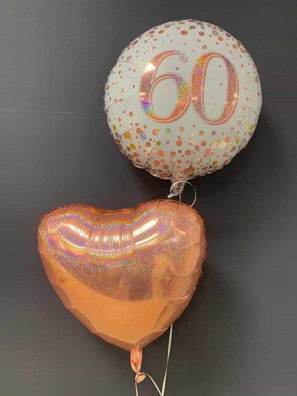 60. Geburtstag €5,50<br />Dekoballon rosegold €4,50 170