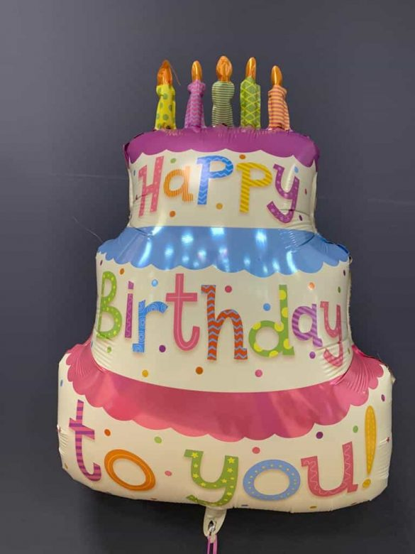 Happy Birthday Torte € 7,90<br />Heliumballon aus Folie 222
