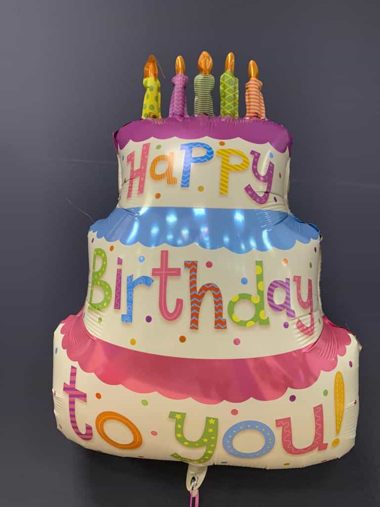 Happy Birthday Torte €7,90<br />Heliumballon aus Folie 1