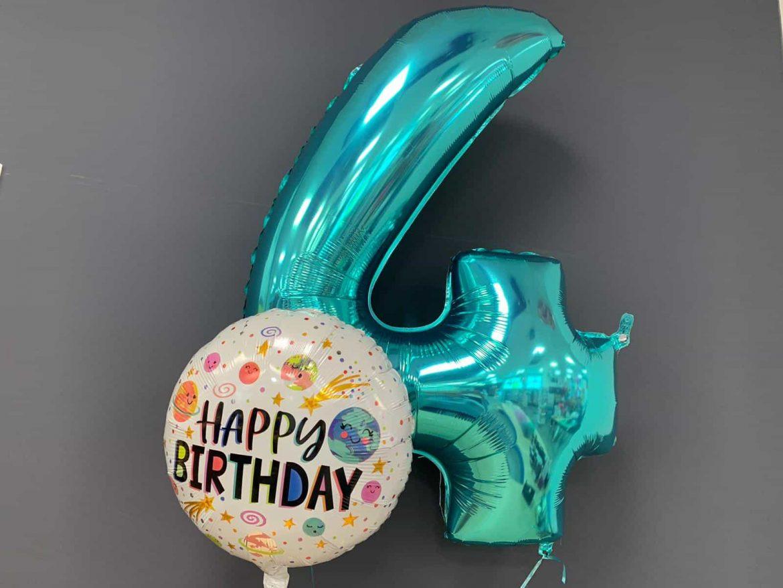 Zahlenballon 4 €9,90<br />Happy Birthday €5,50 1