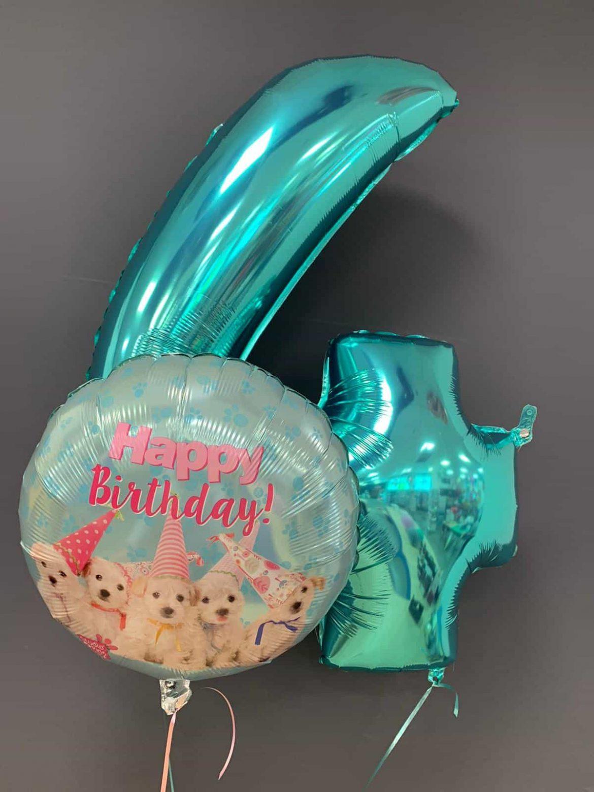 Zahlenballon 4 €9,90<br />Birthday Hunde €5,50 1