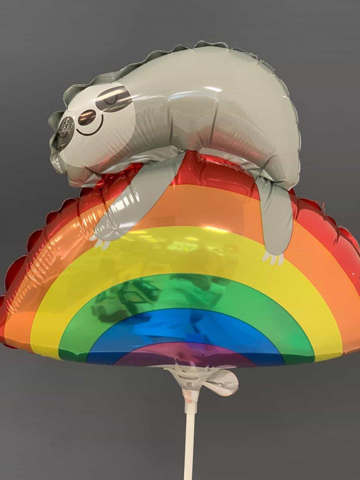 Faultier auf Regenbogen € 3,50<br />Miniballon mit Luft 1