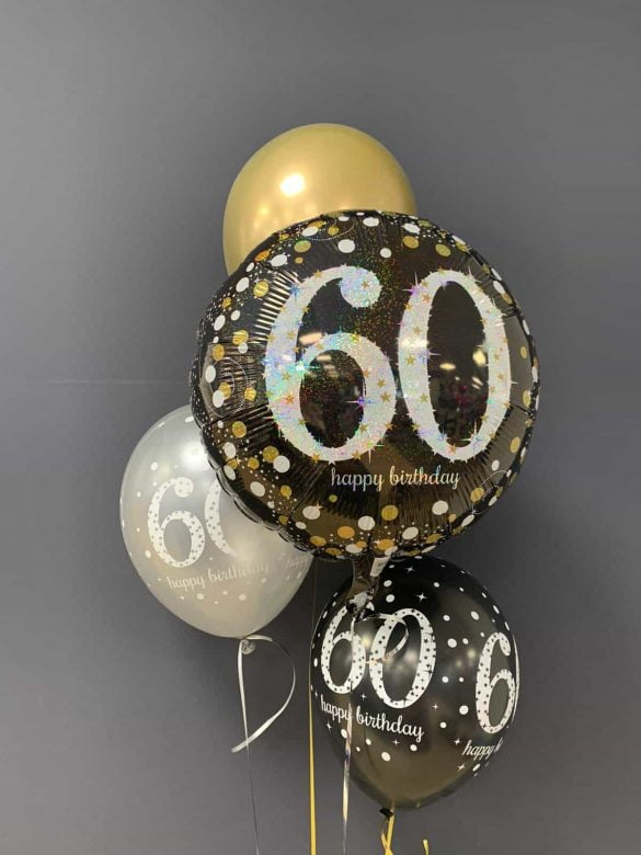 Happy Birthday 60. € 5,90<br />Ballon Latex gold € 2,30<br />Latex mit Druck € 2,20 195