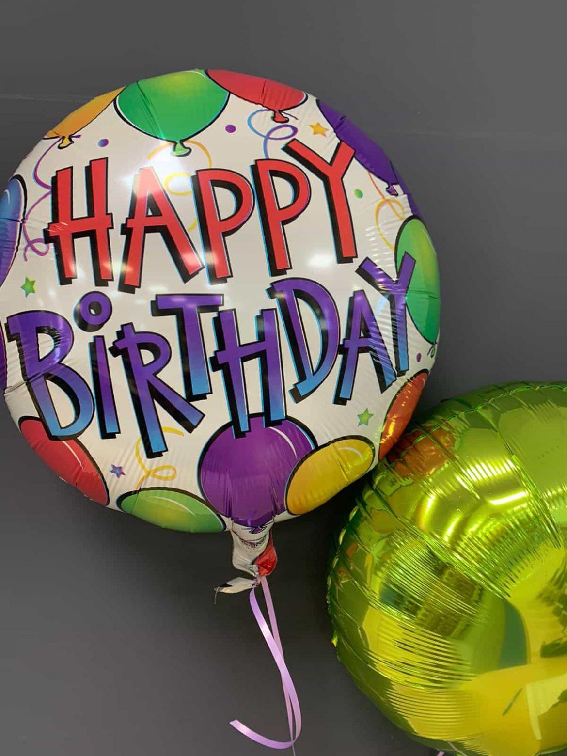 Happy Birthday Ballon mit Dekoballon