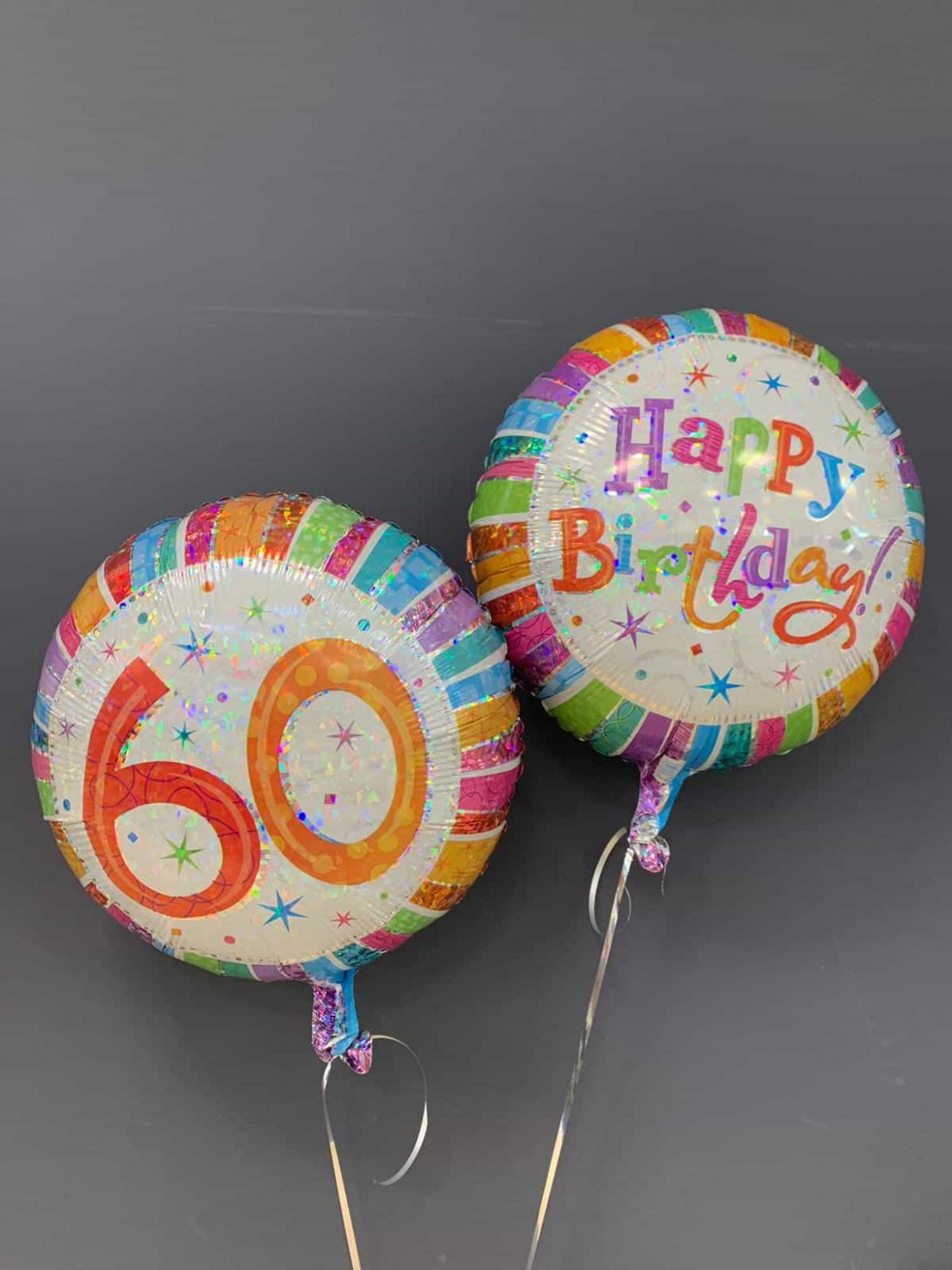 Happy Birthday rund und Zahl 60 rund Ballon