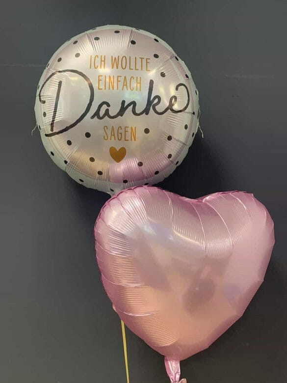 Ballon Danke € 5,90<br />Dekoballon rosa € 4,50 115