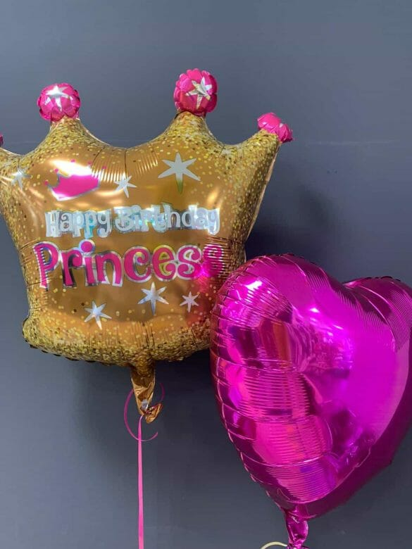 Happy Birthday Princess <br />Ballon Krone € 5,90 <br />Dekoherz lila € 4,50 109