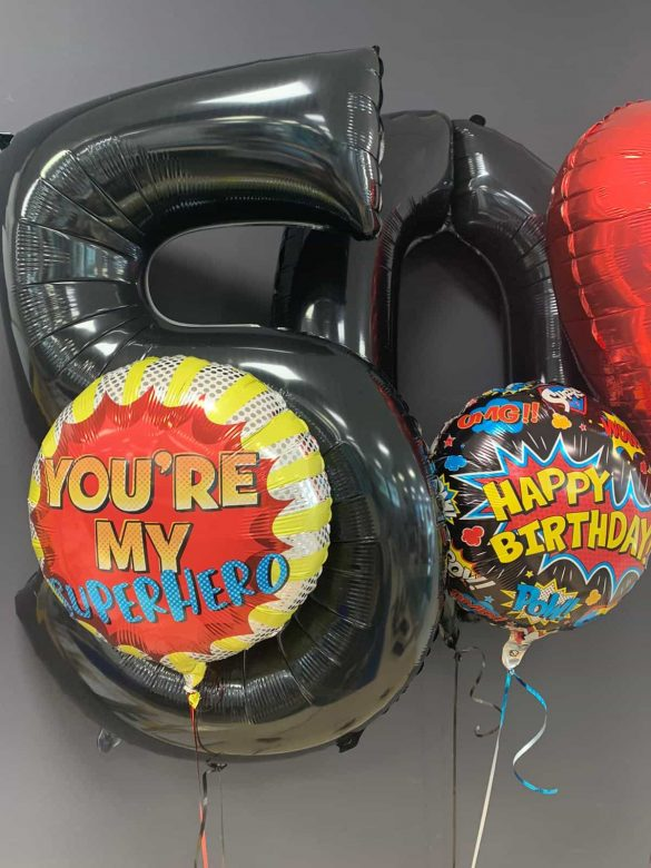 Happy Birthday € 5,50<br>Zahlenballons € 9,90<br>Superhero € 5,50 90