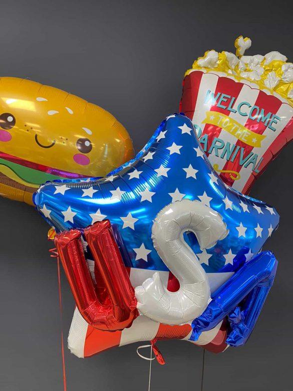 USA Ballons<br> Stern USA<br>Popcorn<br>Hamburger 5