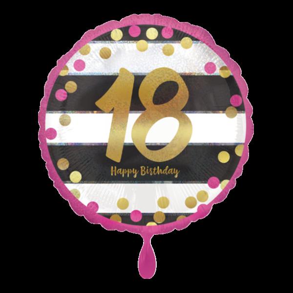 Zahl 18 gestreift zum Geburtstag